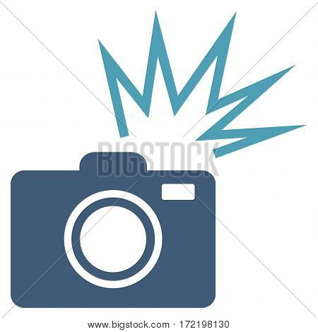 Camera Flash flat icon. Vector bicolor cyan and blue symbol. Pictograph is isolated on a white background. Trendy flat style illustration for web site design logo ads apps user interface.
