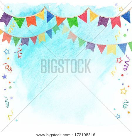Watercolor illustration of banner flags on sky background. Festival and celebrations Decorations
