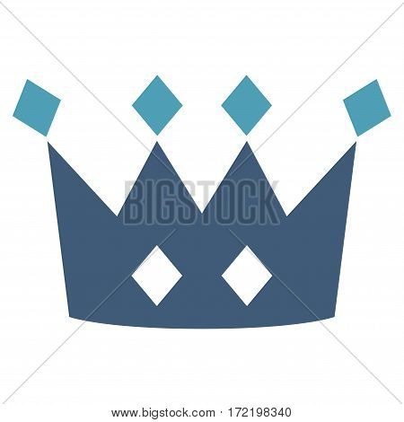 Crown flat icon. Vector bicolor cyan and blue symbol. Pictograph is isolated on a white background. Trendy flat style illustration for web site design logo ads apps user interface.