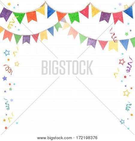 Watercolor illustration of banner flags. Festival and celebrations Decorations .