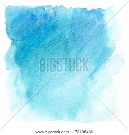 Abstract illustration. Watercolor splashes of sky blue watercolor paints.