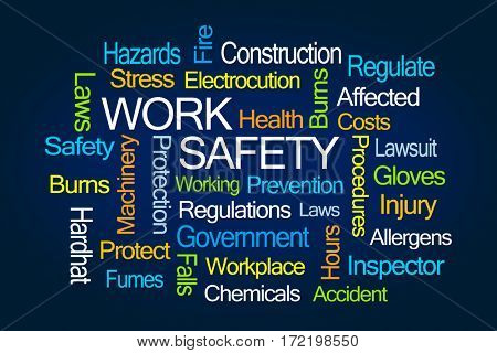 Work Safety Word Cloud on Blue Background