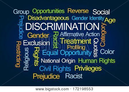 Discrimination Word Cloud on Blue Background