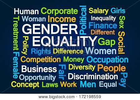 Gender Equality Word Cloud on Blue Background
