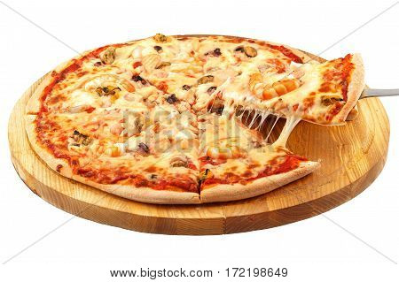 Pizza with seafood, mozzarella, mussels, octopus, squid, salmon, shrimp on an isolated white background