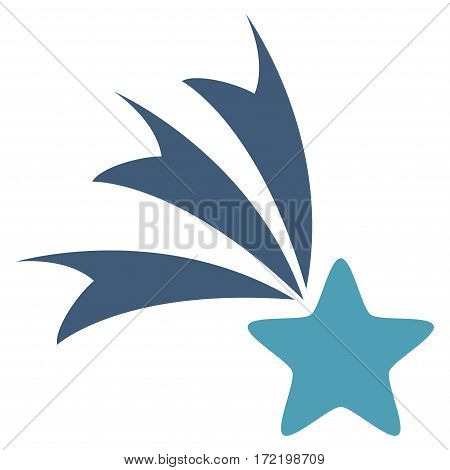 Falling Star flat icon. Vector bicolor cyan and blue symbol. Pictogram is isolated on a white background. Trendy flat style illustration for web site design logo ads apps user interface.