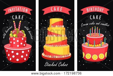 Vector illustration of birthday cake and sweets on a bilateral leaflet second side of space for text on a black background
