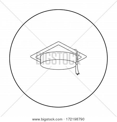 Graduation cap icon in outline style isolated on white background. Hats symbol vector illustration.