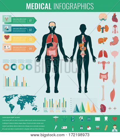 Medical Infographic set with charts and other elements. Vector illustration