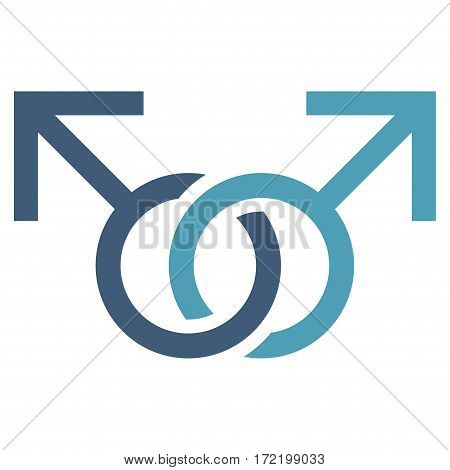 Gay Love Symbol flat icon. Vector bicolor cyan and blue symbol. Pictograph is isolated on a white background. Trendy flat style illustration for web site design logo ads apps user interface.