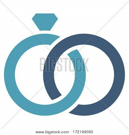 Gem Rings flat icon. Vector bicolor cyan and blue symbol. Pictograph is isolated on a white background. Trendy flat style illustration for web site design logo ads apps user interface.