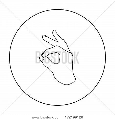 Okay sign icon in outline style isolated on white background. Hand gestures symbol vector illustration.