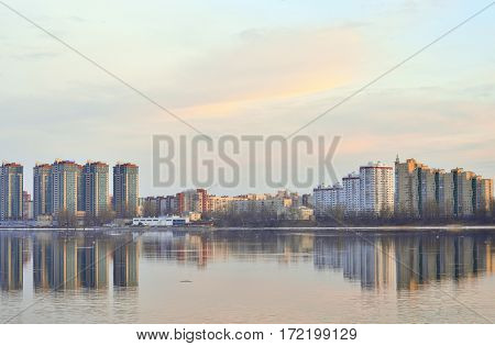 View of Neva river and microdistrict Ribatskoe on the outskirts of St. Petersburg Russia.