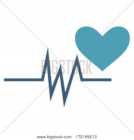 Heart Pulse Signal flat icon. Vector bicolor cyan and blue symbol. Pictograph is isolated on a white background. Trendy flat style illustration for web site design logo ads apps user interface.