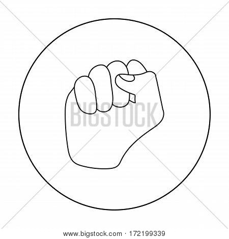 Raised fist icon in outline style isolated on white background. Hand gestures symbol vector illustration.