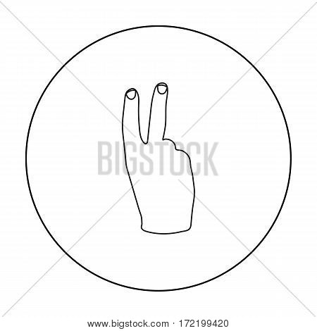 Victory sign icon in outline style isolated on white background. Hand gestures symbol vector illustration.