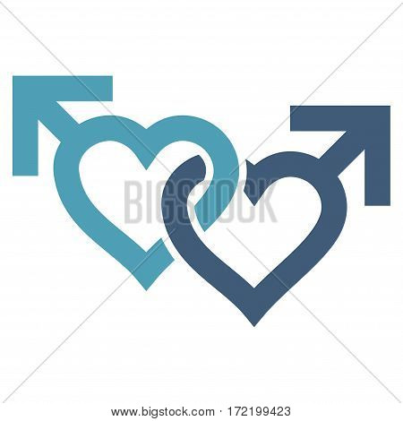 Linked Gay Hearts flat icon. Vector bicolor cyan and blue symbol. Pictogram is isolated on a white background. Trendy flat style illustration for web site design logo ads apps user interface.