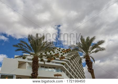 Facade of resort hotel in Eilat - famous tourist city in Israel located on the Red Sea