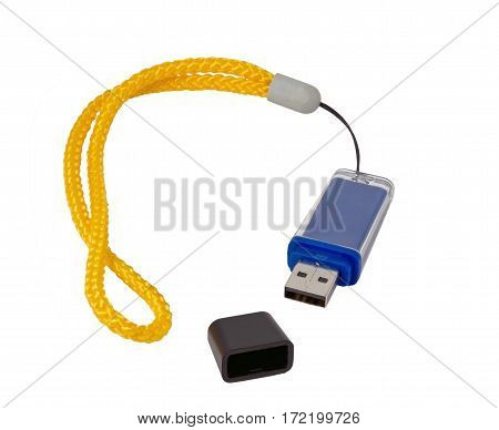 Usb flash drive on the white background