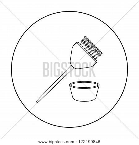 Hair coloring brush icon in outline style isolated on white background. Hairdressery symbol vector illustration.