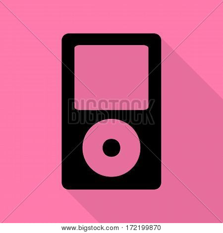 Portable music device. Black icon with flat style shadow path on pink background.
