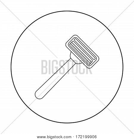 Safety razor icon in outline style isolated on white background. Hairdressery symbol vector illustration.