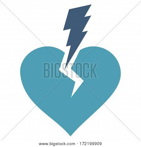 Love Heart Crash flat icon. Vector bicolor cyan and blue symbol. Pictogram is isolated on a white background. Trendy flat style illustration for web site design logo ads apps user interface.