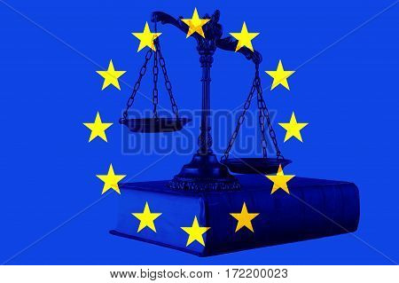 Scales of justice on the book with European union flag