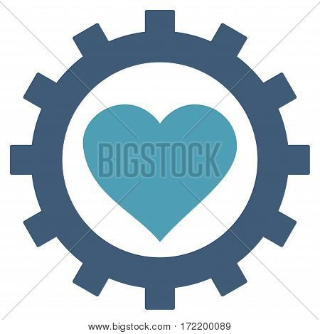 Love Heart Options Gear flat icon. Vector bicolor cyan and blue symbol. Pictogram is isolated on a white background. Trendy flat style illustration for web site design logo ads apps