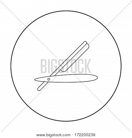 Straight razor icon in outline style isolated on white background. Hairdressery symbol vector illustration.