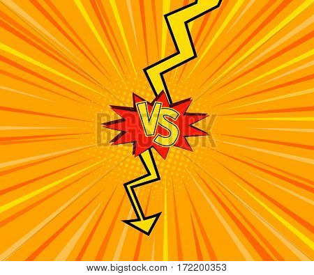 Vector Illustration of  Fight Bubble in Comics Style for Design, Website, Background, Banner. Versus Retro Element Template. Comics Book Frame