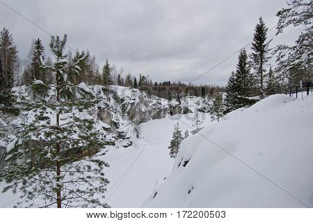 Canyon at winter with snow