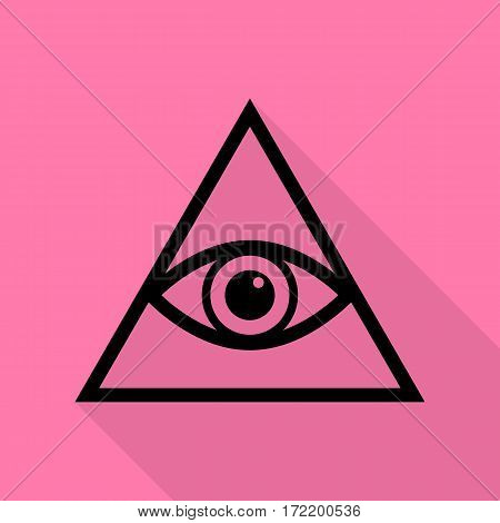 All seeing eye pyramid symbol. Freemason and spiritual. Black icon with flat style shadow path on pink background.