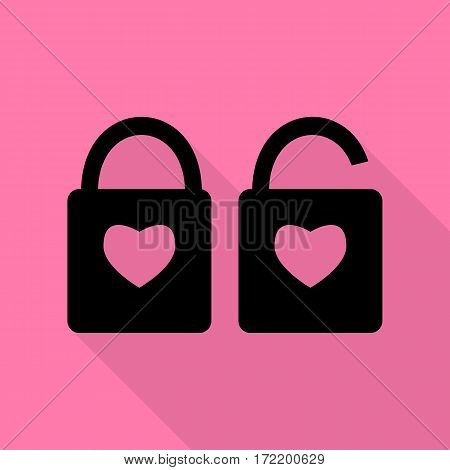 lock sign with heart shape. A simple silhouette of the lock. Shape of a heart. Black icon with flat style shadow path on pink background.