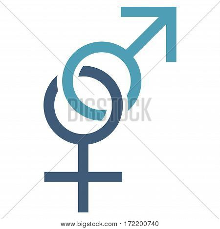 Sex Symbol flat icon. Vector bicolor cyan and blue symbol. Pictograph is isolated on a white background. Trendy flat style illustration for web site design, logo, ads, apps, user interface.