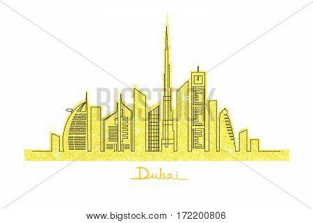 Dubai cityscape with skyscrapers and landmarks on the golden glitter vector illustration