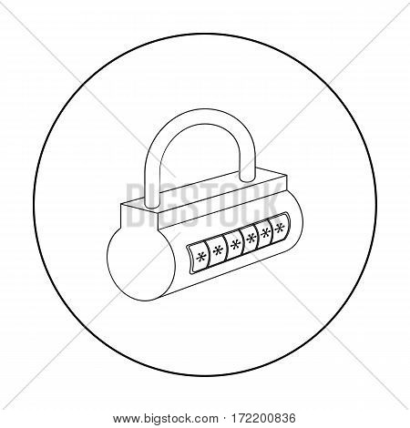 Computer password icon in outline design isolated on white background. Hackers and hacking symbol stock vector illustration.