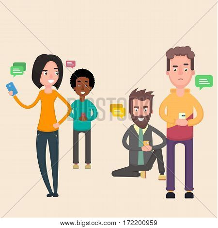 Friends sit in social networks and chatting. Flat. Vector.