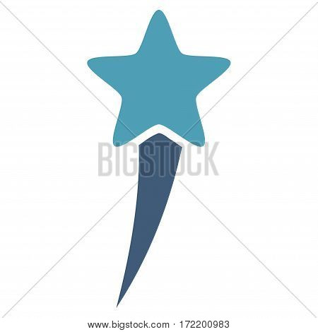 Starting Star flat icon. Vector bicolor cyan and blue symbol. Pictograph is isolated on a white background. Trendy flat style illustration for web site design, logo, ads, apps, user interface.