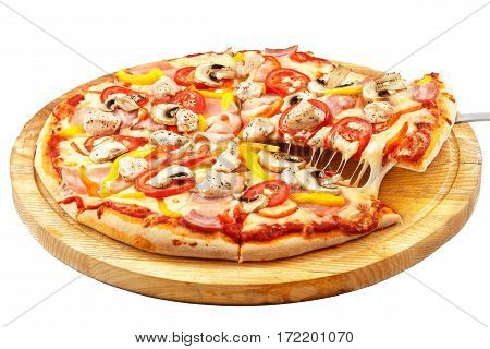 Meat Pizza, mozzarella, ham, bacon, chicken, peppers, tomatoes, mushrooms isolated on white background