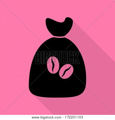 Coffee bag Icon. Coffee bag Vector. Coffee bag Icon Button. Black icon with flat style shadow path on pink background.
