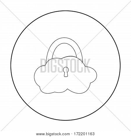Data cloud security icon in outline design isolated on white background. Hackers and hacking symbol stock vector illustration.