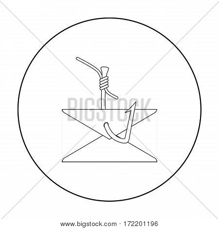 Hooked e-mail icon in outline design isolated on white background. Hackers and hacking symbol stock vector illustration.