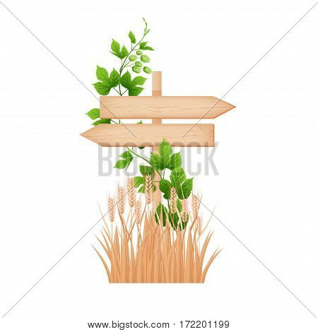 Wooden two arrows signboard with knots and cracks on a pole hop branch and barley ears vector illustration
