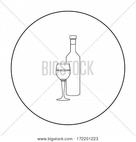 Red wine icon in outline style isolated on white background. Greece symbol vector illustration.