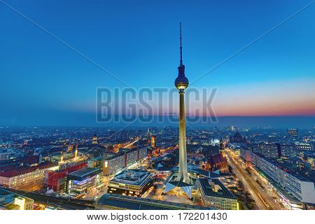 Dawn at the center of Berlin with the famous Television Tower