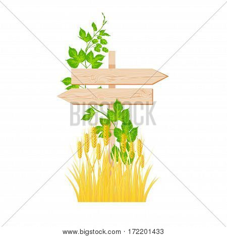 Wooden two arrows signboard with knots and cracks hop branch and barley vector illustration