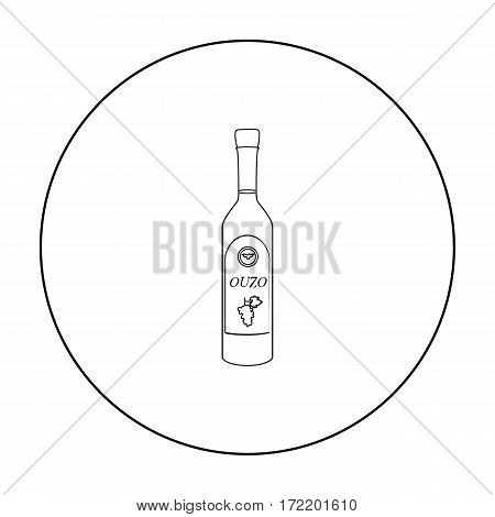 Bottle of ouzo icon in outline style isolated on white background. Greece symbol vector illustration.