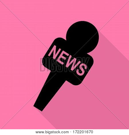TV news microphone sign illustration. Black icon with flat style shadow path on pink background.