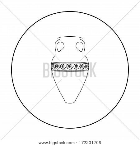 Greece amphora icon in outline style isolated on white background. Greece symbol vector illustration.